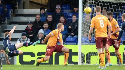 Craig Curran fires a shot into the top corner of the net