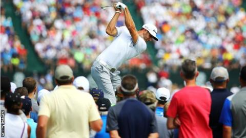 Dustin Johnson tees off at the sixth during the first round at Whistling Straits