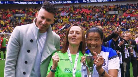 FA People's Cup winners celebrate at Wembley