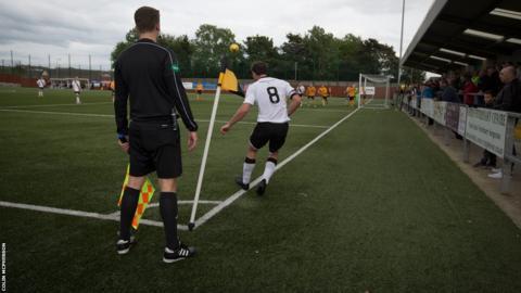Dougie Gair takes a corner for Edinburgh City