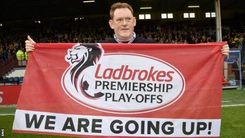 Livingston manager David Hopkin celebrates promotion