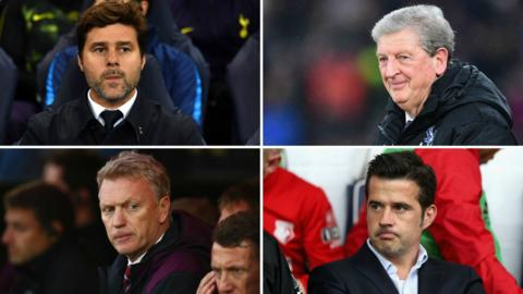 Mauricio Pochettino, Roy Hodgson, David Moyes and Marco Silva