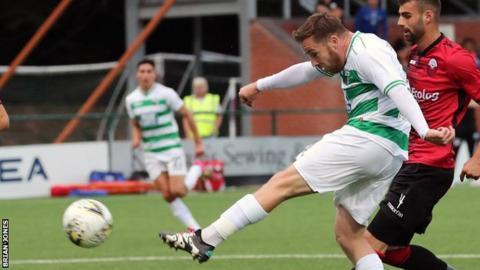 Jon Routledge in action for New Saints against Shkendija