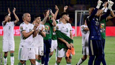 Algeria players celebrate after defeating Kenya at the Africa Cup of Nations