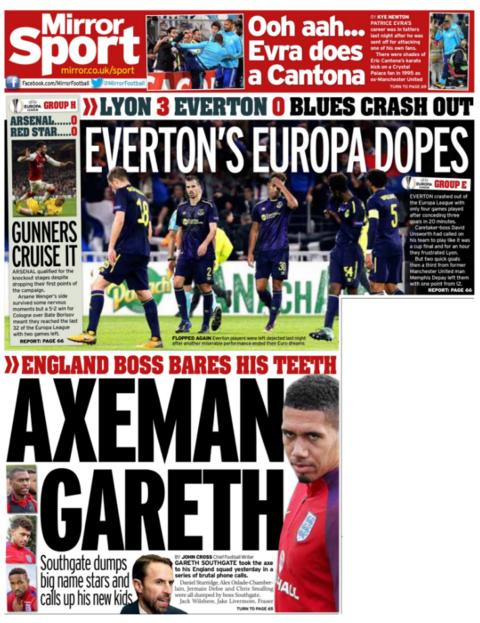 Daily Mirror back page on Friday
