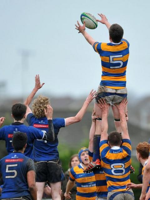 Bangor second row Patrick Eves claims a line-out ball during his side's 36-13 victory over Limavady
