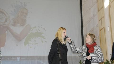 Petra Kvitova speaking at the exhibition of her trophies in Fulnek