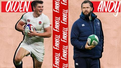 A graphic with Owen Farrell on the left and Andy Farrell on the right