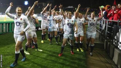 England women celebrate their win over New Zealand