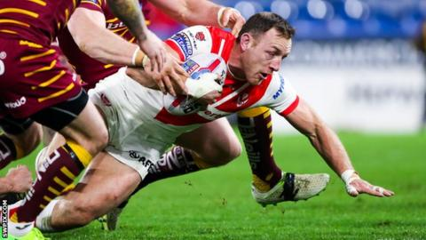 James Roby scores St Helens' second try at Huddersfield