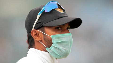 Some Sri Lanka players have taken to wearing masks while fielding in Delhi against India