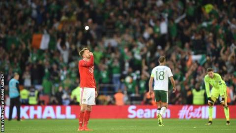 Wales midfielder Aaron Ramsey is dejected after losing to the Republic of Ireland