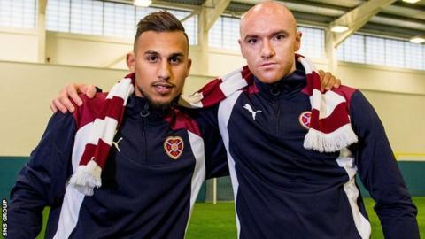 New Hearts arrivals Faycal Rherras and Conor Sammon