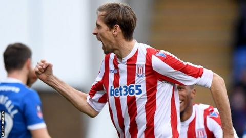 Peter Crouch celebrates his most recent goal