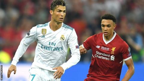 Trent Alexander-Arnold and Cristiano Ronaldo in the Champions League final