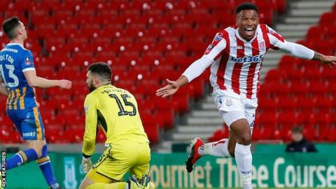 Tyrese Campbell's two goals put Stoke 2-0 up in their FA Cup third round replay against Shrewsbury on 15 January, only for the Shropshire side to come back and win 3-2