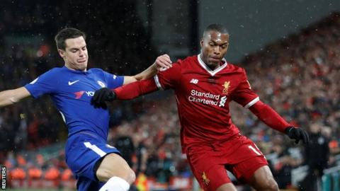 Daniel Sturridge in action for Liverpool against Chelsea