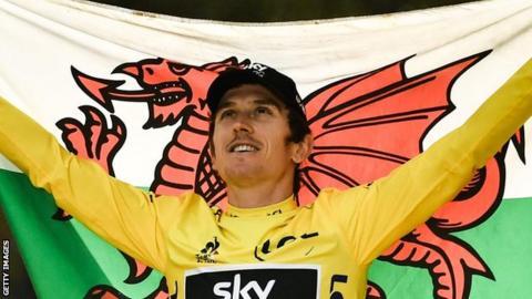 Cyclist Geraint Thomas celebrates his Tour de France victory