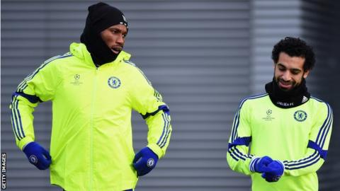 Ivory Coast's Didier Drogba and Egypt's Mohamed Salah training at Chelsea
