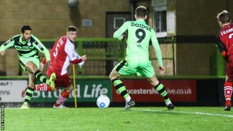 Fabien Robert scores Forest Green's opener against Solihull Moors
