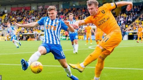 Kilmarnock's Greg Kiltie (left) competes with Livingston's Nicky Cadden