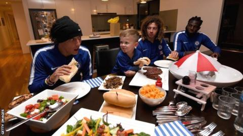 David Luiz at Chelsea fan's home