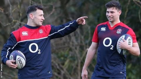 Danny Care (left) with Ben Youngs at England training