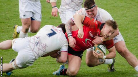 Lewis Robling tackled against Rotherham Titans