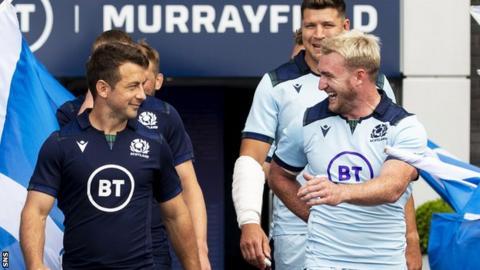 Scotland's Greig Laidlaw and Stuart Hogg show off new kits for the 2019/20 season