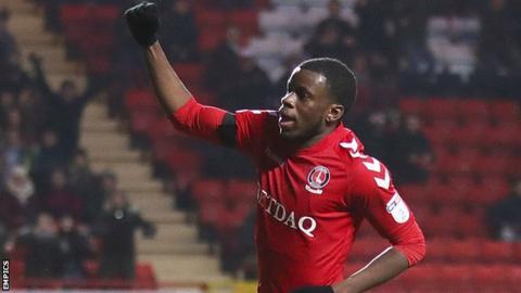 Stephy Mavididi celebrates a goal for Charlton
