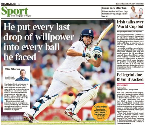 Times back page on Tuesday