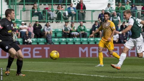 Jason Cummings knocked in the only goal at Easter Road