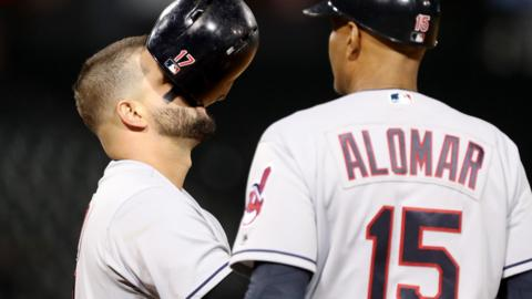 CHICAGO, IL - JUNE 11: Yonder Alonso #17 of the Cleveland Indians reacts after popping out in the seventh inning against the Chicago White Sox as first base coach Sandy Alomar looks on at Guaranteed Rate Field on June 11, 2018 in Chicago, Illinois. (Photo by Dylan Buell/Getty Images)