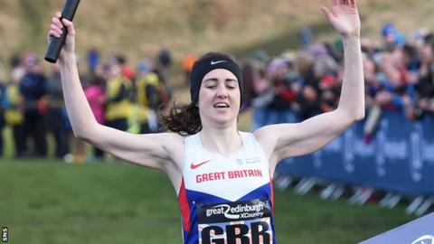 Laura Muir celebrates relay victory at the 2017 Edinburgh Cross Country