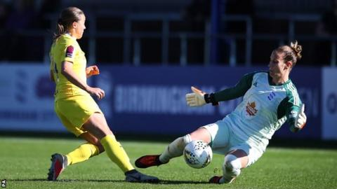 Fran Kirby's shot is saved by Ann-Katrin Berger