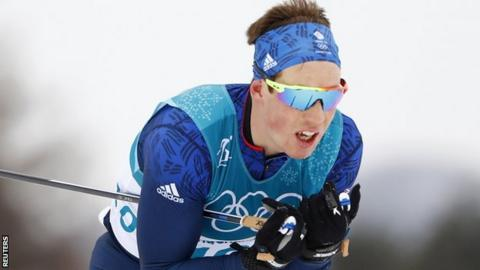 Andrew Musgrave competes in the 15km x 15km skiathlon event on Sunday