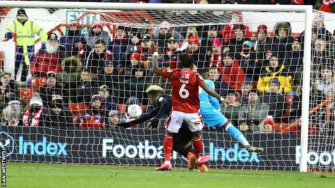 Charlton's Lyle Taylor scores the only goal of the first half against Nottingham Forest