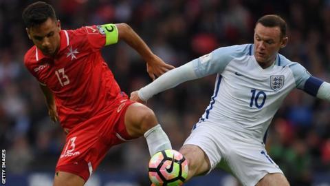 Apollon striker Andre Schembri in action for Malta against England