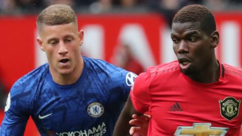 Paul Pogba of Manchester United takes beats Ross Barkley of Chelsea to the ball