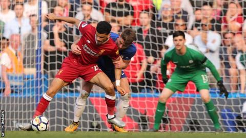 Dominic Solanke in action for Liverpool against Chelsea