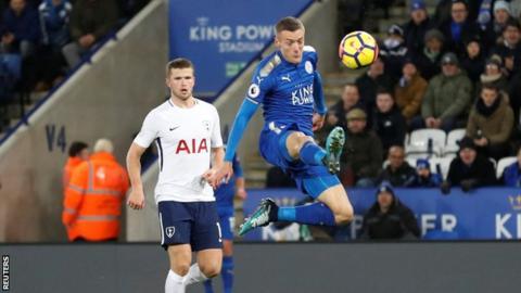 Jamie Vardy scores against Tottenham