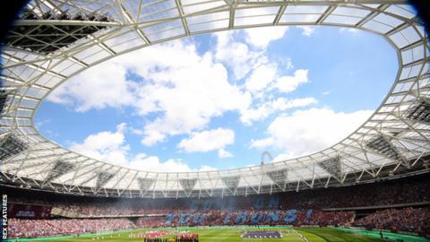 West Ham United's London Stadium before kick-off against Juventus