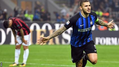 Mauro Icardi Cele Tes After Scoring For Inter Milan Against Ac Milan
