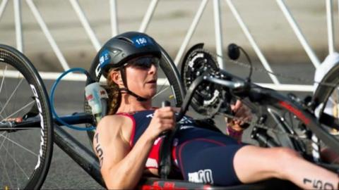 Lizzie partway through the 20km cycle at the Chicago World Championships 2015