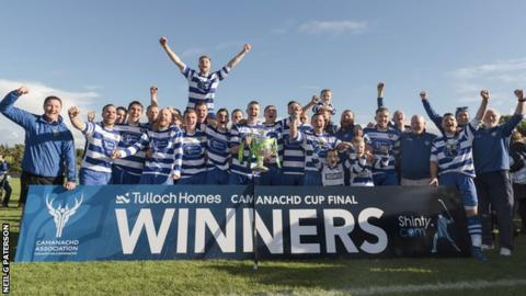 Newtonmore celebrate their 32nd Camanachd Cup win