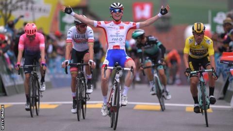 Groupama-FDJ's David Gaudu takes stage three Romandie victory followed by, UAE Team-Emirates Rui Costa, and Primoz Roglic for Team Jumbo-Visma in Romont, Switzerland