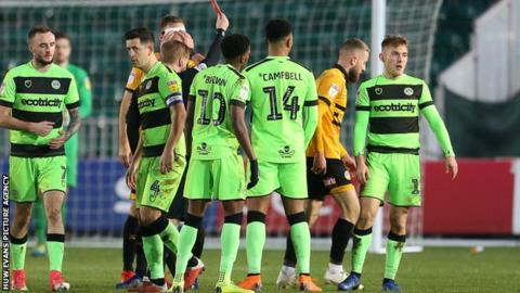 Dan Butler is sent off for Newport