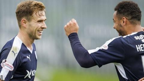 Dundee striker Greg Stewart (left) celebrates with Kane Hemmings