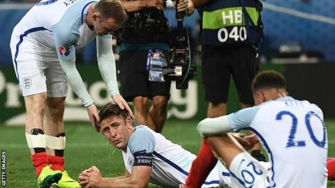 England players react after losing to Iceland at the Euro 2016