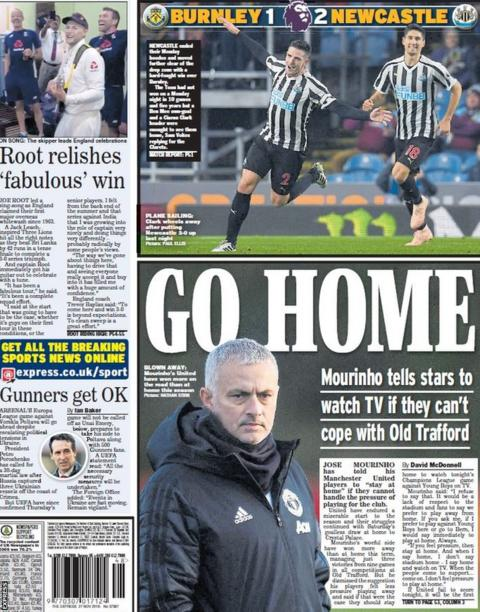 Back page of Tuesday's Daily Express